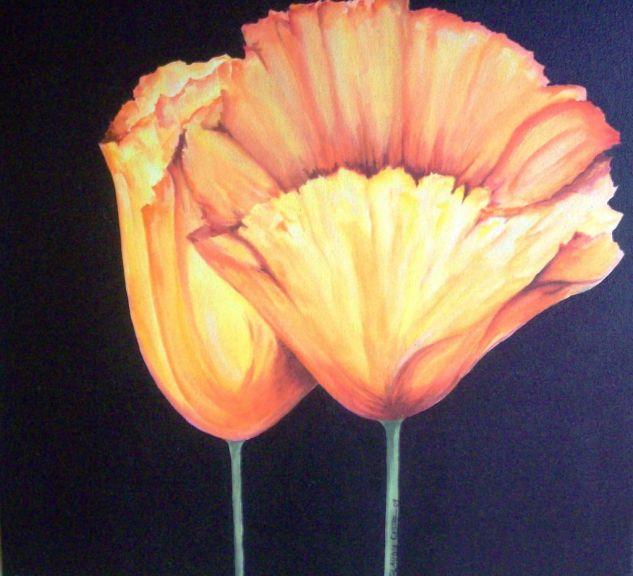 Anaranjados Lienzo Acrílico Floral