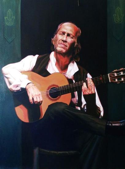 Paco de Lucia por tangos Lienzo Acrílico Retrato
