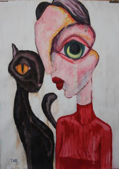 Woman and black cat Tinta