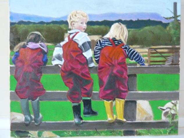 Tres jovenes en el campo Lienzo Óleo Figura