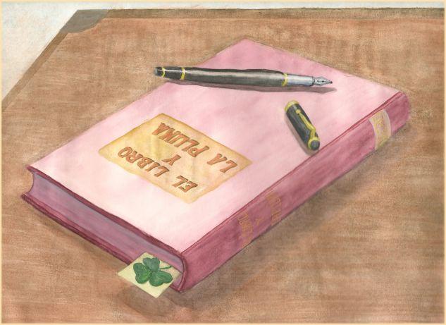 El libro y la pluma Papel Acuarela Bodegones