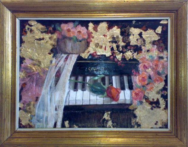 el piano Tela Floral