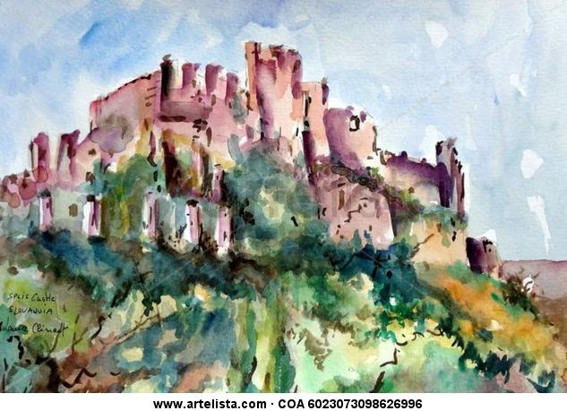 SPIS CASTLE Paper Watercolour Landscaping