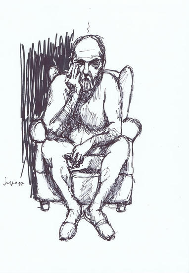 Hombre sentado desnudo Tinta