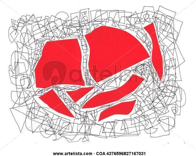 Collage rojo con garabato Otros Cartulina