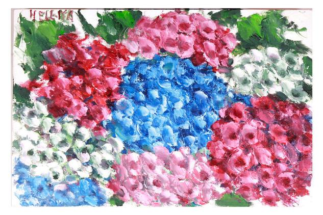 Hidrangeas Óleo Floral Lienzo