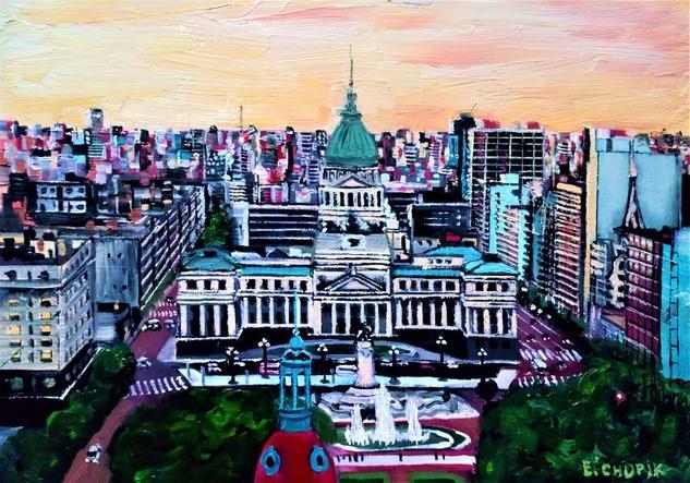 Congreso de Buenos Aires Paisaje Óleo Papel