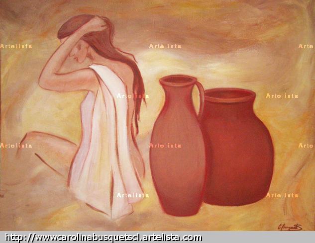 Mujer con Vasijas Óleo Tela Desnudos