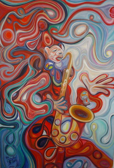 Arlequín saxofonista Figura Lienzo Óleo