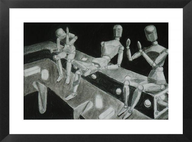 3 Taker descansando Card Graphite Figure Painting