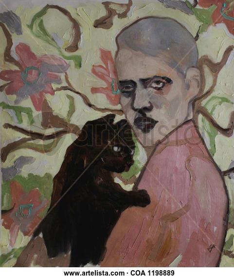 Man With Cat Floral Óleo Tela