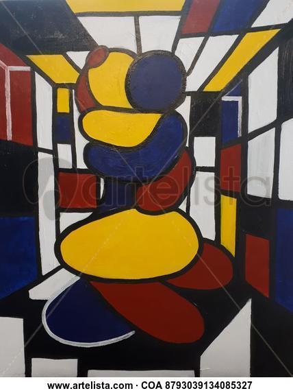Pareja abrazada en un habitación Mondrian con ventanas y precipicio  Desnudos Acrílico Tela