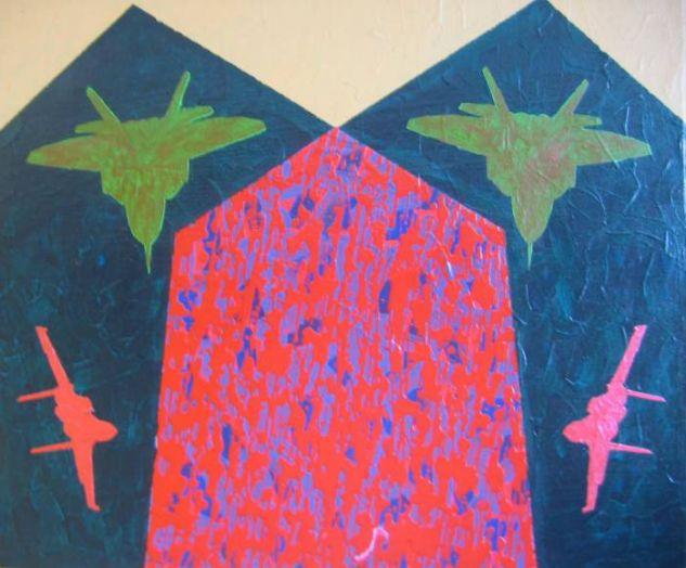 De la serie Quimeras, Encrucijada con aves verdes y rojas. Acrilico-lienzo. 60 x 70. 2007