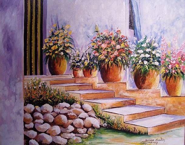 Jard n con escalera maribel serrano cerdan - Oleos de jardines ...