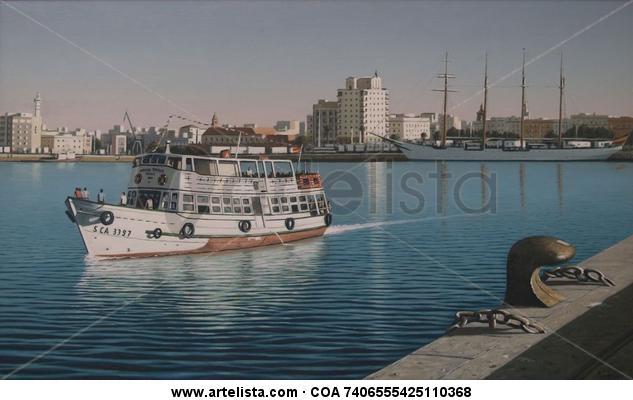 Vaporcito y elcano en puerto de cadiz