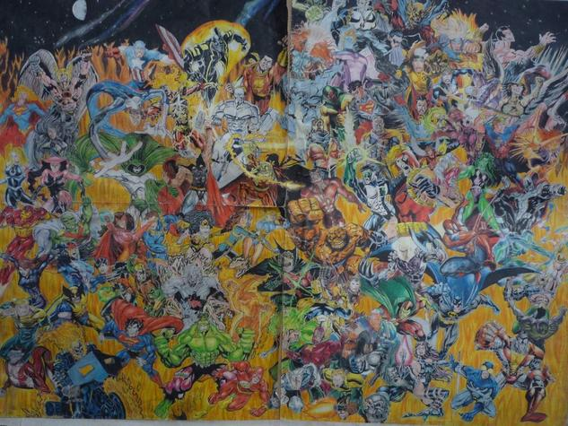superheroes Lápiz (a color) Papel Otros
