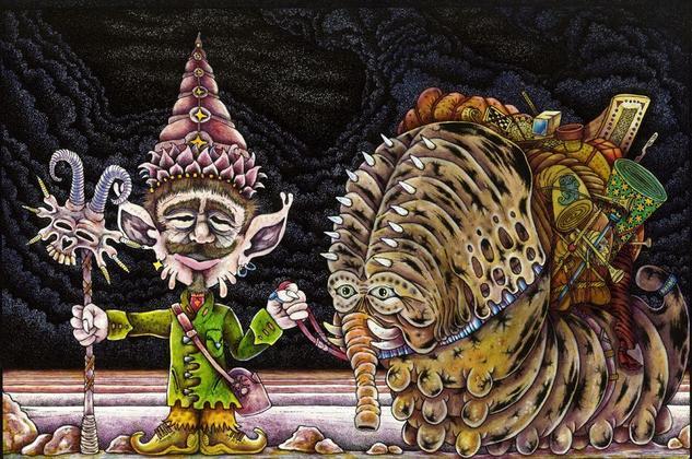 Basha-Li el Duende Tibetano, y su fiel acompañante el Gusanofante Nok. Tinta