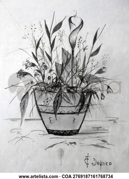 Bodegón de glores/Natureza morta de flores/Still life of flowers Lápiz