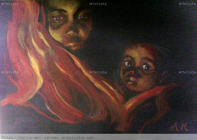 IBIR-AFRICA Papel Óleo Retrato