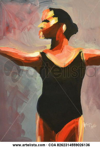 Bailarina Cartulina Óleo Figura