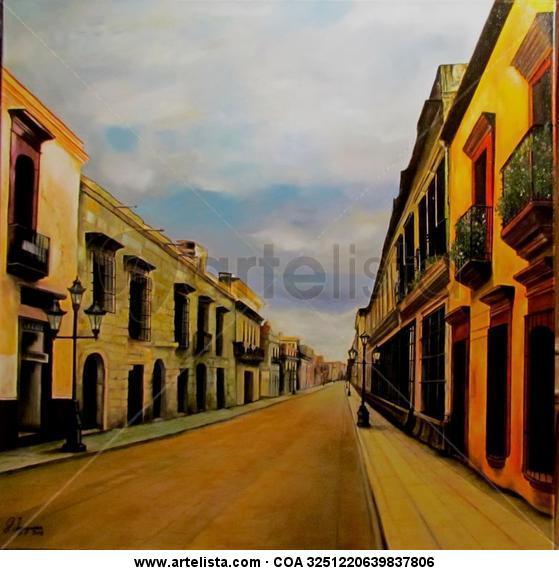 Una calle del DF - Mexico Lienzo Óleo Paisaje