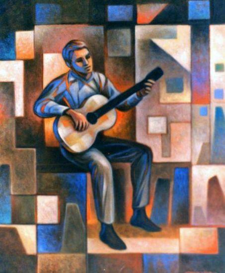 El joven guitarrista  de la azotea Óleo Lienzo Otros