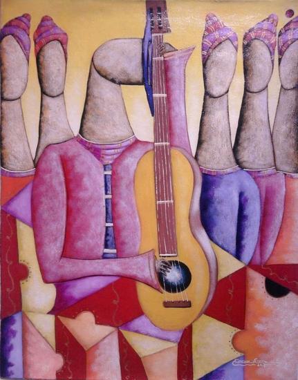 musicos 3 Acrílico Figura Lienzo