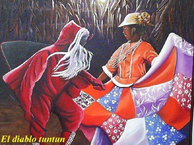 La Danza del diablo Tuntun. Óleo Lienzo Figura