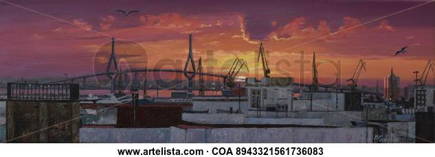 AMANECER DESDE UNA AZOTEA EN CADIZ Landscaping Oil Canvas