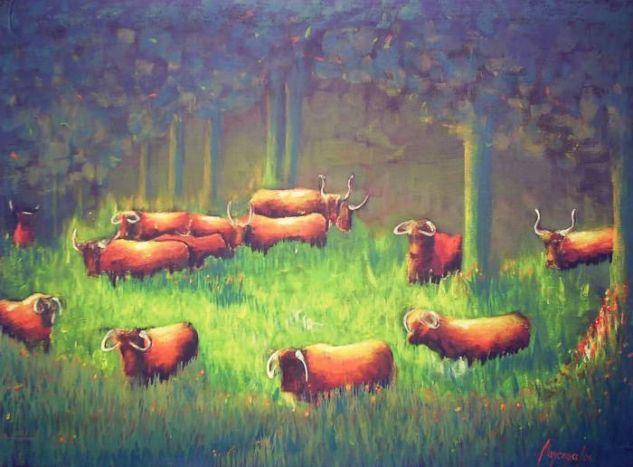 Vacada en el campo Lienzo Acrílico Animales