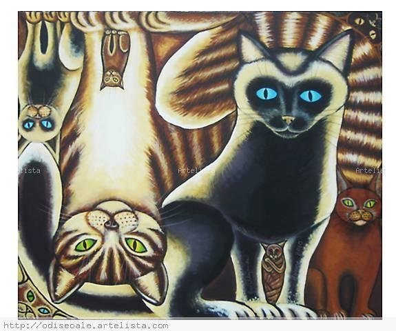 Gatos para arriba y para abajo. Lienzo Acrílico Animales