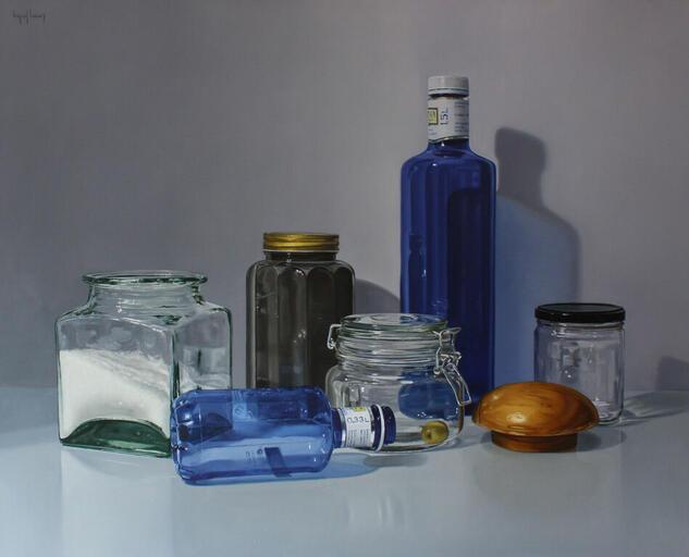 """Frascos, botella azul y aceituna"" Still Life Paintings Oil Canvas"