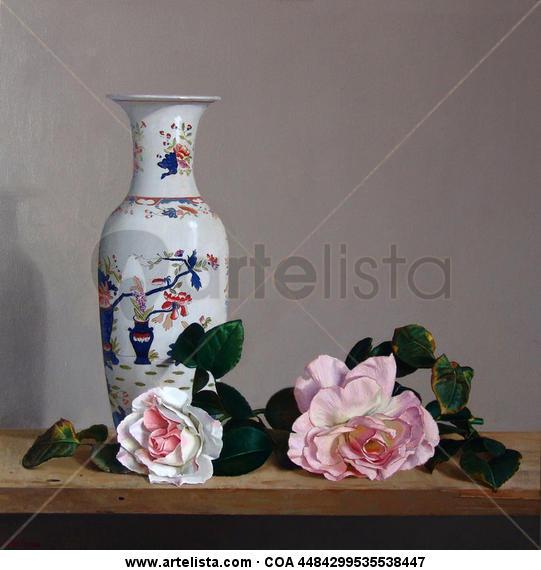 ROSAS Y JARRÓN Tabla Óleo Floral