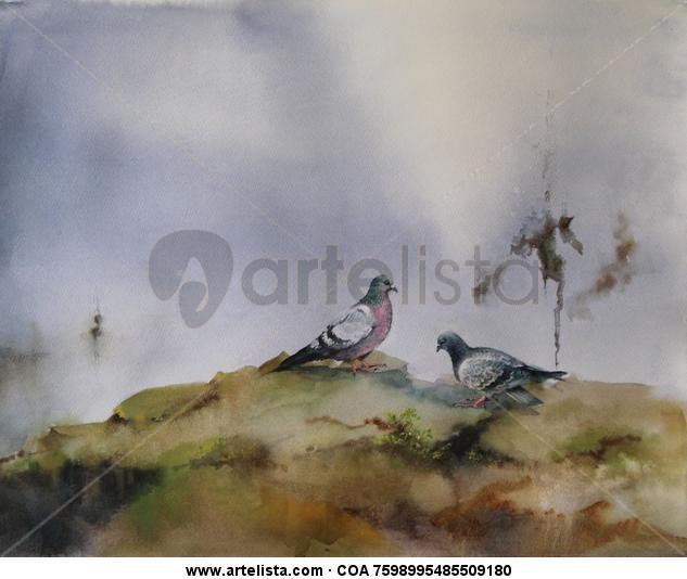 Pareja de palomas Papel Acuarela Animales