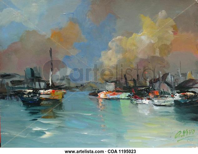 4321 Desembocadura Marine Painting Oil Panel