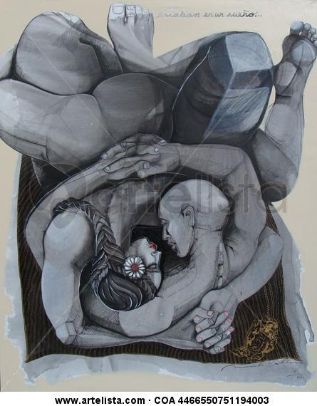el abrazo Lienzo Acrílico Figura