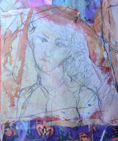 Mujer collage chica Acrílico Figura Lienzo