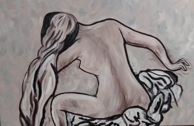 Después del baño Lienzo Acrílico Desnudos