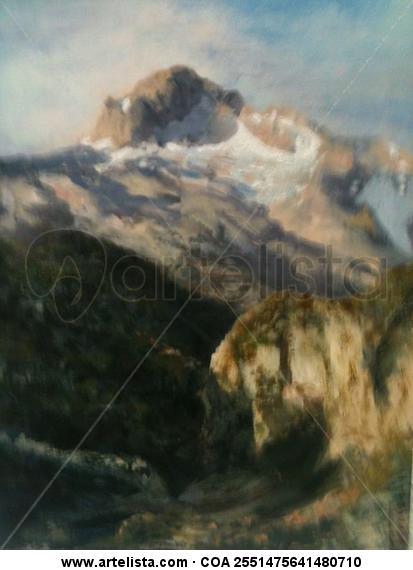 montaña Paisaje Tabla Óleo