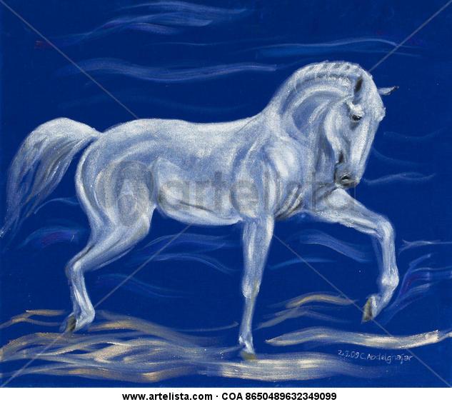 White horse on blue velvet Animales Óleo Tela