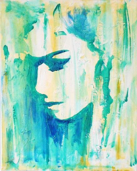 Azul y verde Retrato Acrílico Lienzo