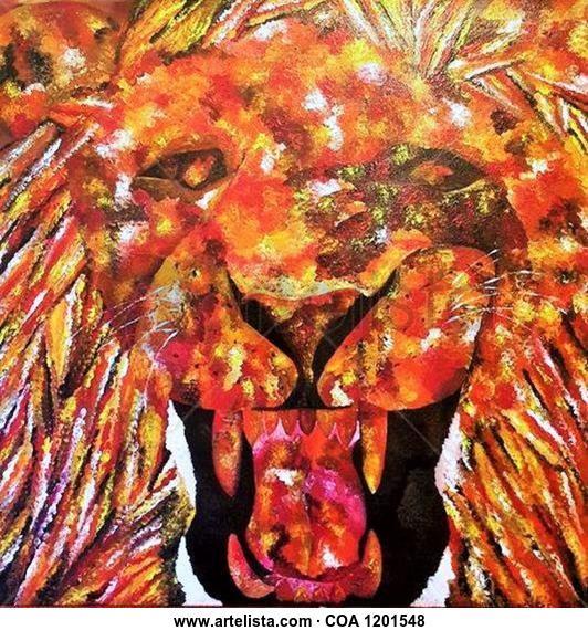 El León Animales Acrílico Lienzo