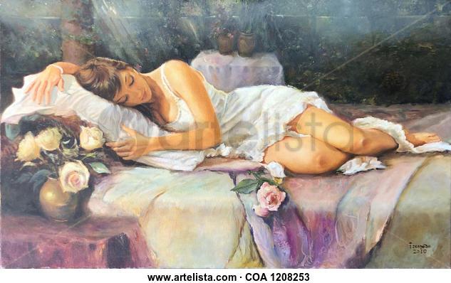 La siesta en el jardín Figura Óleo Lienzo