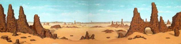 Desierto Óleo Tabla Paisaje