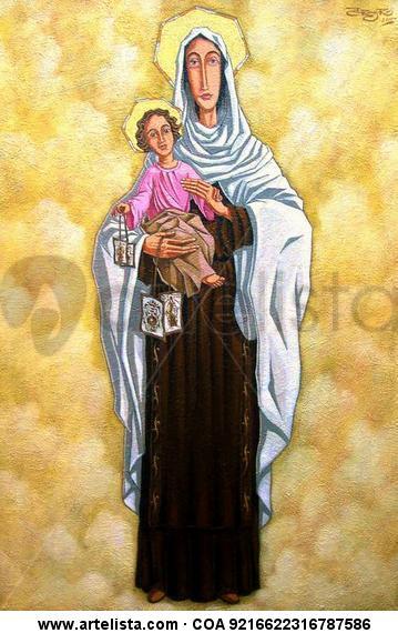 Virgen del Carmen Lienzo Óleo Figura