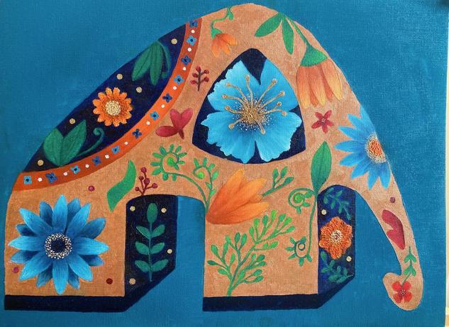 El elefante ocre Animales Óleo Tela