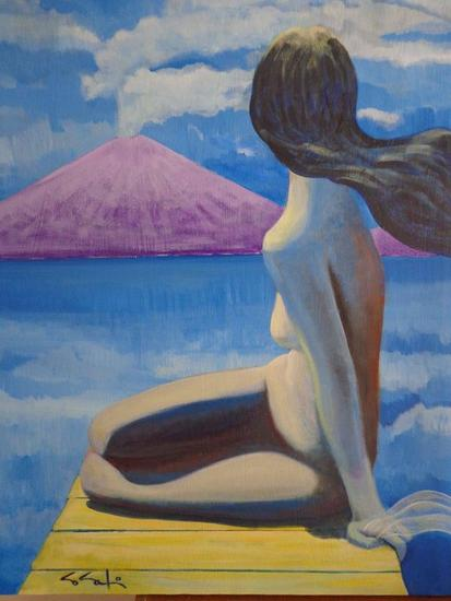 Mujer Sentada Paisaje Acrílico Tela