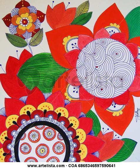Flores y mandala  Papel Acrílico Floral