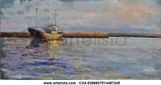 Barco Marina Óleo Otros