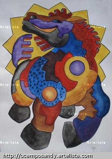 CABALLO BAJO SOL TIWANACU Card Watercolour Animals